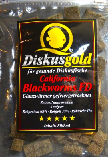 Diskusgold California Blackworms FD, Glanzwürmer gefriergetrocknet, 500 ml in Würfeln